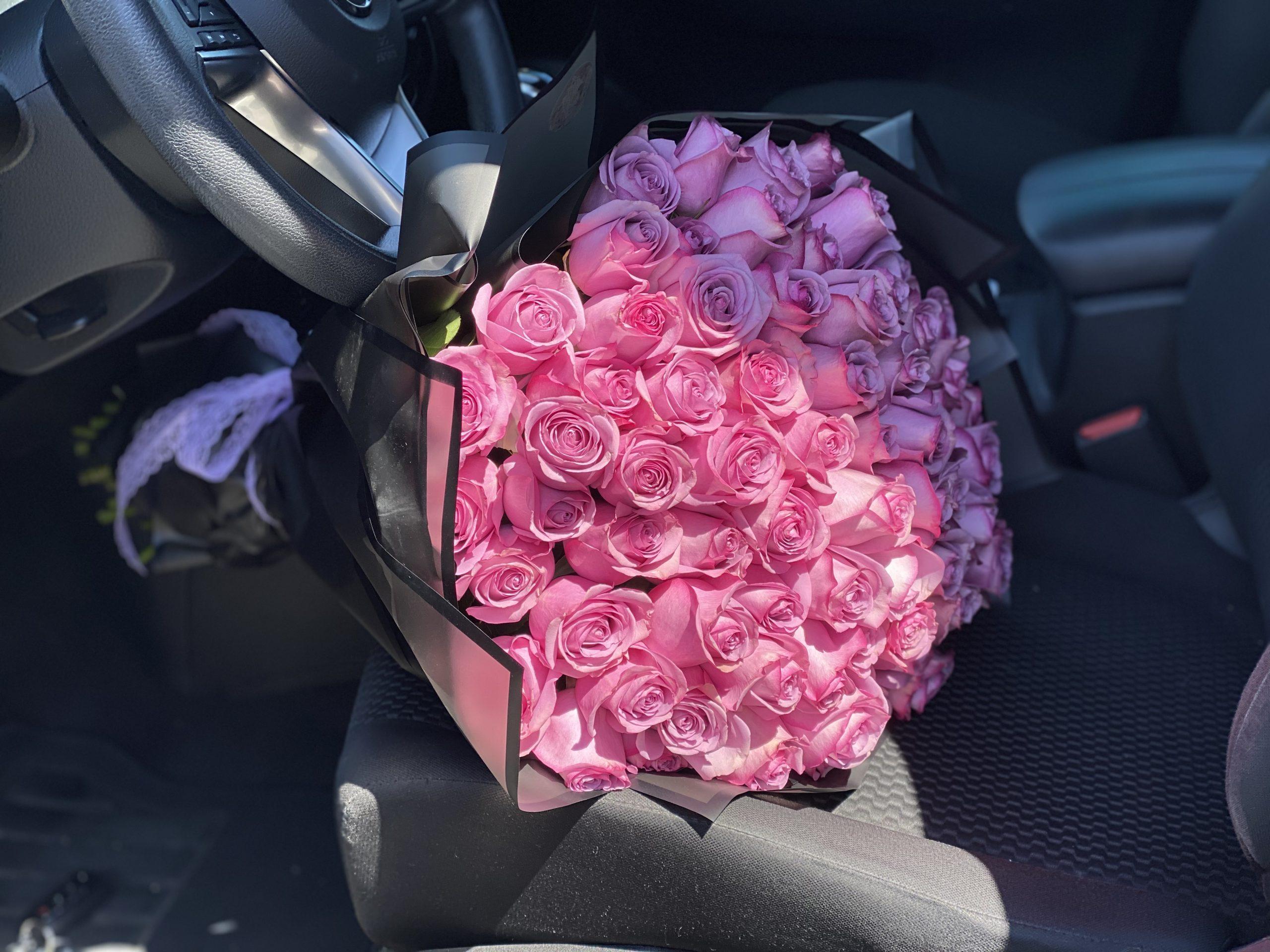 75 Roses Elegant Purple Roses Bouquet Purple Violet